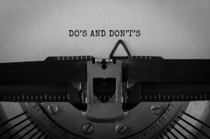Text DO S AND DONTS typed on retro typewriter